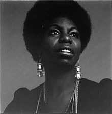 Nina Simone in 1969. The photo by Jackie Robinson was used as the cover of Simone's posthumous compilation album Forever Young, Gifted & Black