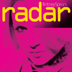 "Close up of the face a blonde woman. She is looking into the camera with her hair covering her left eye. The image has a layer of pink and is divided in four parts, resembling an actual radar. On the upper side of the image, the words ""Britney Spears"" are written in white letters. Underneath, ""radar"" is written in big yellow small letters."