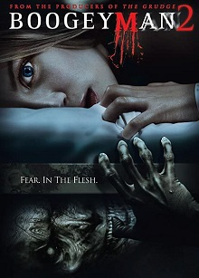 Poster feature the film's lead, a young blonde woman, lying on a bed and facing the camera with the Boogeyman being under her bed.