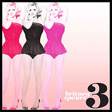 "The image of a blonde woman wearing a black short dress, repeated three times in colors red, black and pink, along the right side of the image. The image has a black border. On the lower left corner, the number ""3"" is written in black. On the left of the number, the words ""britney spears"" are written in small letters."