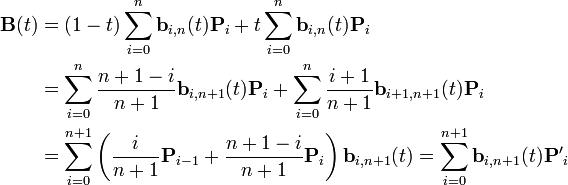 \begin{align}\mathbf{B}(t) & = (1-t)\sum_{i=0}^n \mathbf{b}_{i,n}(t)\mathbf{P}_i+ t\sum_{i=0}^n \mathbf{b}_{i,n}(t)\mathbf{P}_i \\& = \sum_{i=0}^n \frac{n+1-i}{n+1}\mathbf{b}_{i,n+1}(t)\mathbf{P}_i+ \sum_{i=0}^n \frac{i+1}{n+1}\mathbf{b}_{i+1,n+1}(t)\mathbf{P}_i \\& = \sum_{i=0}^{n+1} \left(\frac{i}{n+1}\mathbf{P}_{i-1} + \frac{n+1-i}{n+1}\mathbf{P}_i\right) \mathbf{b}_{i,n+1}(t)= \sum_{i=0}^{n+1} \mathbf{b}_{i,n+1}(t)\mathbf{P'}_i\end{align}