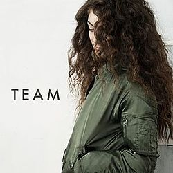 "Lorde looking down with her face partially obscured by long curly dark hair, wearing a khaki-coloured bomber jacket and the text ""TEAM"""