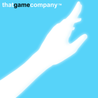 "a white silhouette of an outstretched arm and hand on a light blue background, with ""thatgamecompany"" above it."