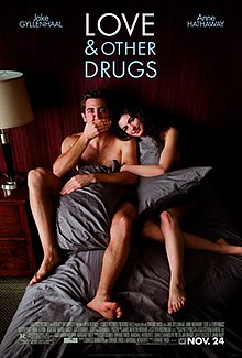 "Jhttp://en.wikipedia.org/w/index.php?title=Love_and_Other_Drugs&action=edit#amie (Jake Gyllenhaal) and Maggie (Anne Hathaway) are in torn blankets in bed, as information is below and ""Love and Other Drugs"" is at the top."