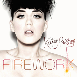 A woman with a firework hair like a boy and a white background and the brown letter is 'Katy Perry' and the orange letter is 'FIREWORK'