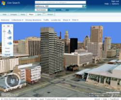 Virtual Earth 3D within Live Search Maps
