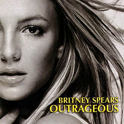 "The headshot of a younge blond woman. Her hair is blond and feathered straight. She is wearing lipstick and makeup. Her mouth is slightly open and her hand is pressed against her neck. In the bottom, the words ""Britney Spears"" are written in yellow italics. Below, the word ""Outrageous"" is written in the same fashion."