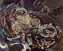 'Bride of the Wind', oil on canvas painting by Oskar Kokoschka, a self-portrait expressing his unrequited love for Alma Mahler (widow of composer Gustav Mahler), 1913.jpg
