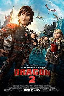 A brown haired boy, holding a helmet by his side, his friends and a black dragon behind him. Dragons are flying overhead.