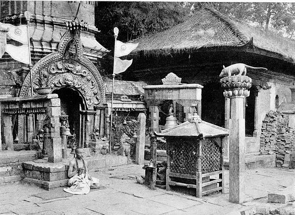Black and white photograph of the entrance to the temple of Ganeshthan, near Bhatgaon.