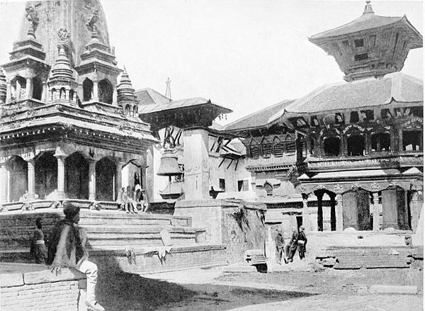 Black and white photograph of a temple in Bhatgaon.