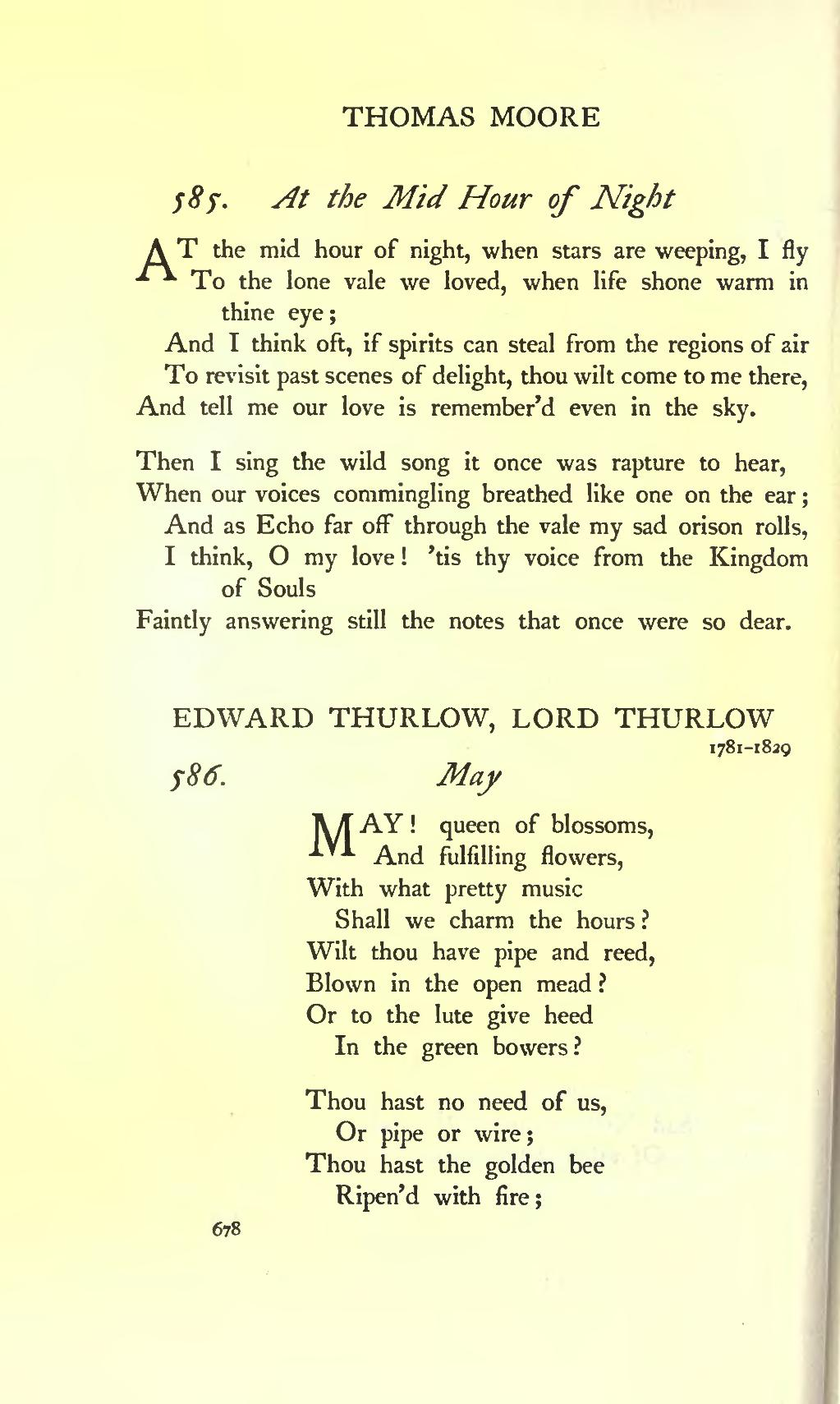 at the mid hour of night thomas moore