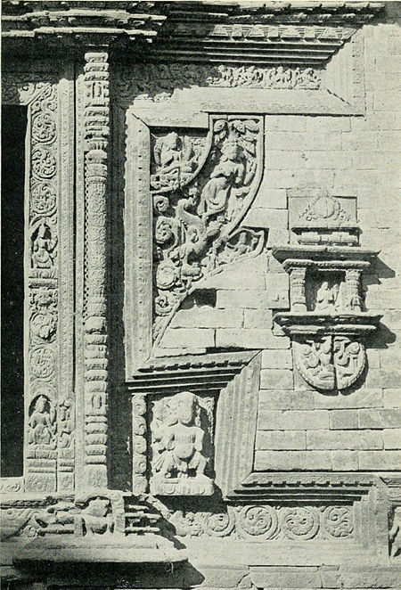 Black and white photograph of details of a temple doorway at Bhatgaon.