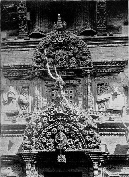 Black and white photograph of Elaborate wood-carving on Bhairan Temple at Bhatgaon.