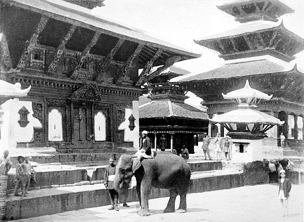 Black and white photograph of the Durbar Square at Katmandu.