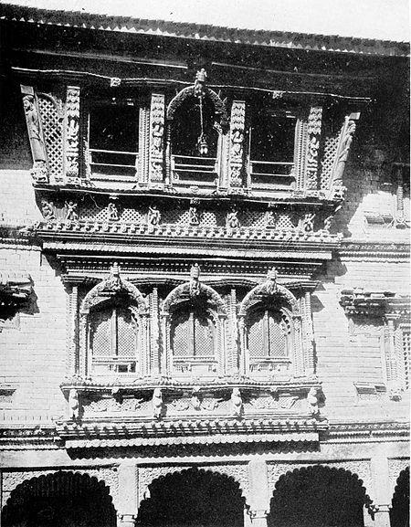 Black and white photograph of windows in the Temple of Changu-Narain.