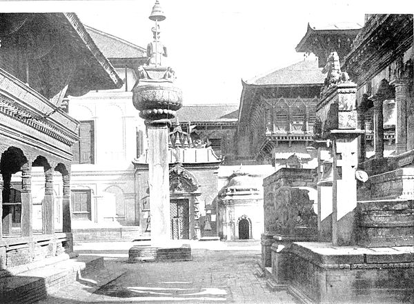 Black and white photograph of the Durbar Square at Bhatgaon.