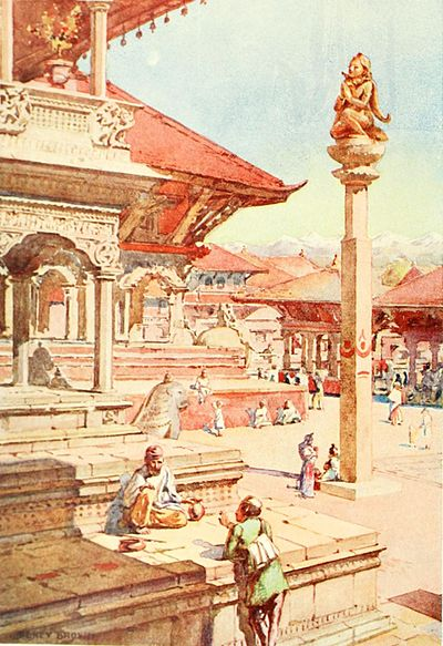"""A corner of the Durbar Square, Patan (p. 75)."