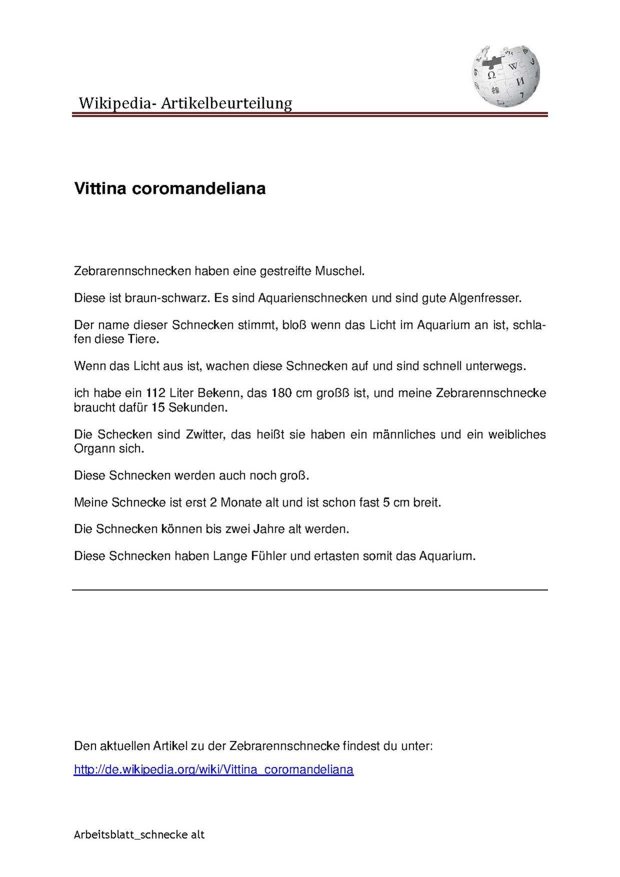 Wikipedia und Schule/Unterrichtsmodule/Artikelbeurteilung Wikipedia ...