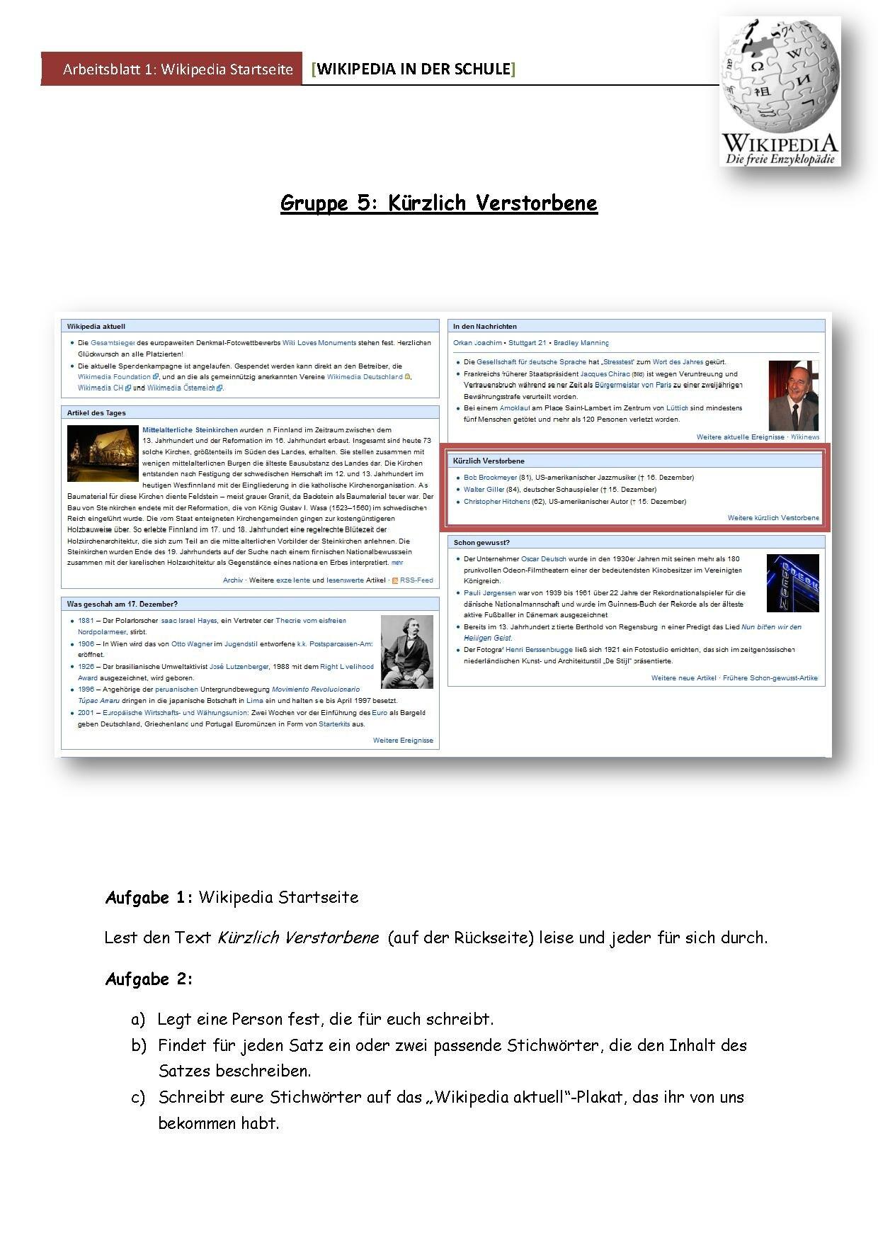 Wikipedia und Schule/Unterrichtsmodule/Basiswissen Wikipedia in der ...