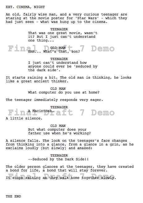 screenplay how to write on screen text