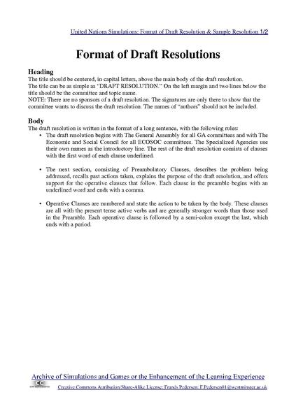 File united nations simulations format of draft resolution for Letter of resolution template