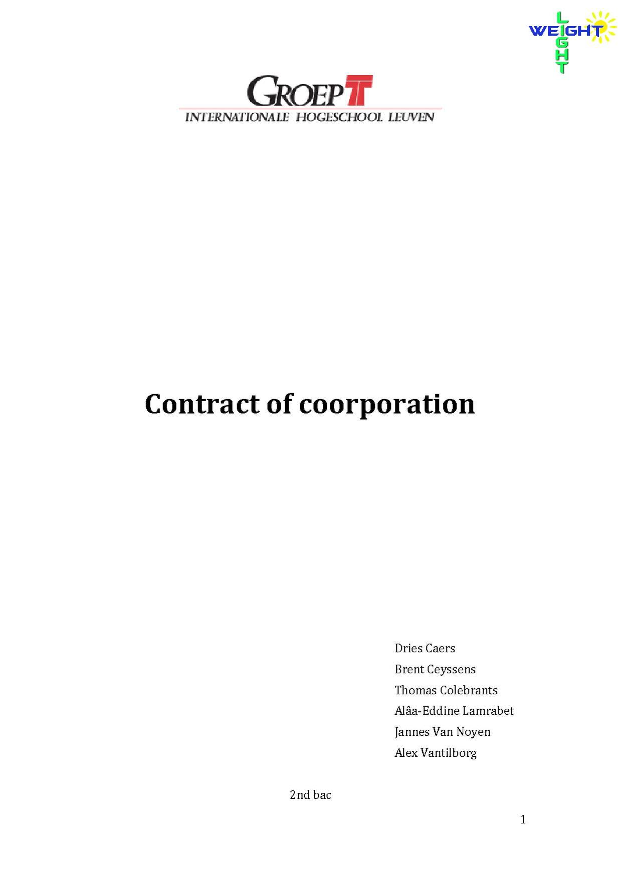contract of coorporation Light-Weight