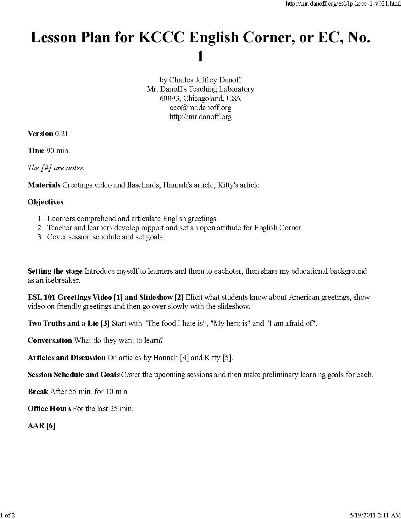 Filelesson Plan For Kccc English Corner Or Ec No 1pdf Wikiversity