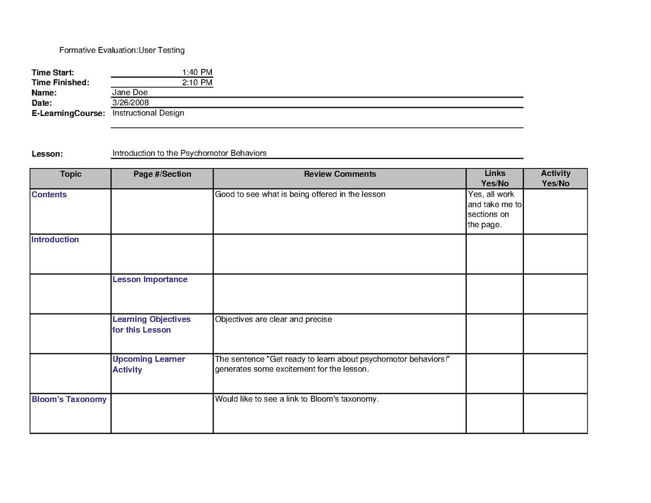 e-learning evaluation form  Instructional design/User testing of e-learning courses ...