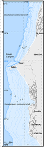 Bathymetry of the Mauritanian and Senegambian continental shelf.png