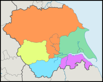 Gliederung der Region Yorkshire and the Humber
